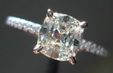 SOLD...Solitaire Diamond Ring: .98ct Daussi Cushion 18kt White Gold R2953