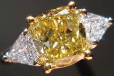 SOLD.....Three Stone Diamond Ring:  1.64 Fancy Brownish Yellow Cushion- GIA Step Cut Shields, look like Trills plat R2959