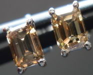 SOLD....Diamond Stud Earrings: .93ct Coffee Emerald Cut Diamond Stud Earrings R2941