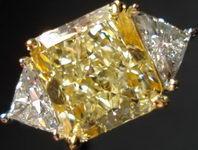 SOLD.....Three Stone Diamond Ring: 3.66ct Natural Light Yellow Radiant Diamond with Trilliants R2998