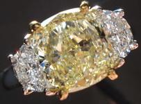SOLD....Three Stone Diamond Ring: 2.01 Y-Z Light Yellow Cushion Half moon Ring GIA BEAUTIFUL! R2996