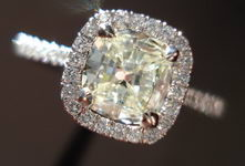 SOLD.....Halo Diamond RIng: .67ct Square Cushion Daussi 18kt white gold R3010