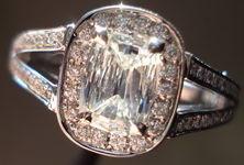 SOLD.....Halo Diamond RIng: .58ct Daussi Split Shank Cushiono RIng- look like a lot! R3008