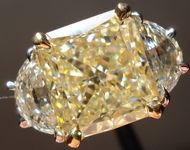 SOLD.....Three Stone Diamond Ring: 5.09ct Light Yellow Radiant Diamond Half Moon GIA R2776
