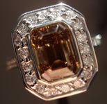 SOLD......Halo Diamond Ring: 2.19ct Rich Deep Brown Emerald Cut Diamond Halo RIng R3033