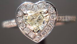 SOLD....Halo Diamond RIng: .35ct Heart Shape Halo Ring 18kt White gold R3054
