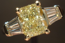 SOLD.....Thee Stone Diamond Ring:1.09ct Fancy Light Yellow Radiant GIA I1 Sam Spade Baguette ring R3076