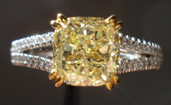 SOLD...Diamond Ring: 2.02ct Fancy Yellow VS1 Cushion Diamond Micro Pave Ring Platinum GIA R3089