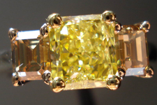 SOLD....Three Stone Diamond Ring: 1.25ct Fancy Intense Yellow GIA Radiant Platinum, Yellow and Rose Gold Ring R3122