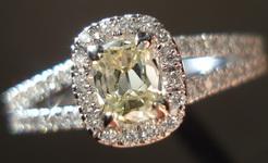 SOLD....Halo Diamond Ring: .30 Faint Yellow Daussi Cushion in elaborate dainty setting R3144