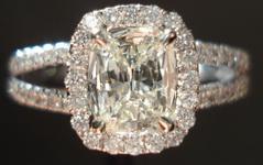 SOLD.....Halo Diamond Ring: .67ct Daussi Cushion Split Shank Halo Ring 18kt R3148