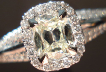 SOLD...Halo Diamond Ring: .47ct Faint Yellow Daussi Cushion in sturdy yet dainty setting R3150