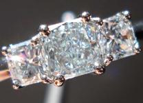 SOLD.... Three Stone Diamond Ring:.43ct Natural Light BLUE Square Radiant DIamond VS2 GIA Platinum w F color sides R3183