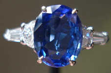 SOLD...Sapphire and Diamonds by Lauren-handmade ring: 1.67ct Natural Gem Quality Oval Sapphire AGTA report R3194