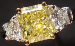 SOLD....Three Stone Diamond Ring: 1.04ct Fancy Light Yellow Radiant GIA Lemon Ice Unique Sheild Platinum R3107