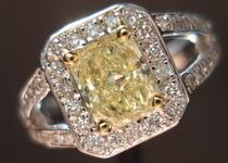 SOLD....Halo Diamond RIng: .70 Fancy Light Yellow Radiant in Split Shank halo Ring R3161