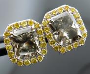 SOLD........!!Diamond Earrings: Matching Pair of GIA Gray Diamonds Fancy Intense Yellow Diamond Halo R3210