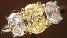 SOLD.....Three Stone Diamond Ring: 1.10ct Light Yellow Oval Center F color side Ovals R3152