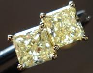 SOLD....Diamond Earrings: 1.32ct twYellow Radiant Diamond Studs 18kt R3213