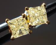 SOLD....Diamond Earrings: .79ct twYellow Princess Diamond Studs 18kt R3219