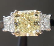 SOLD.... Three Stone Diamond Ring: 1.54ct Internally Flawless Fancy Light Yellow Radiant Trapezoids GIA R3242