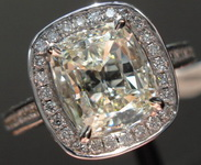SOLD....Halo Diamond Ring: 1.35 Daussi Cushion in 18kt white gold Shank Halo R3249