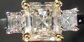 SOLD:Three Stone Diamond Ring: .96ct Faint Yellow Radiant W Asscher Side Diamonds Trade up special R955