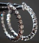 SOLD....Diamond Hoop Earrings: .1.09ct tw single common prong design 14kt White gold R3261
