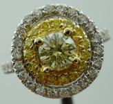 SOLD...Diamond Halo Ring: .46ct Natural Light Yellow Round Brilliant Diamond Double Halo R3294