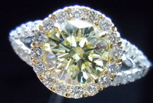 SOLD....Halo Diamond Ring: .96ct Y-Z Light Yellow Round Diamond GIA -Platinum Halo Ring R3302