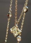 SOLD.....Diamond Necklace: .37 Yellow Princess Cut center 16inch DBTY 18kt Yellow Gold R2629