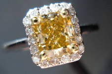 SOLD....Halo Diamond Ring: 1.01 Brownish Orangy Yellow Radiant GIA Beauty R3346