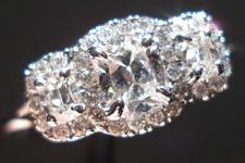 SOLD....Halo Diamond Ring: .65ct TW Daussi Three Stone Cushion micro set 18kt white gold R3350
