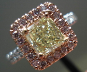 SOLD.....Halo Diamond Ring: .85ct Fancy Light Yellow VS1 GIA PINK LEMONADE R3368