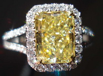 SOLD.....Halo Diamond Ring: Leon Megé for DBL 1.80 Fancy Yellow Internally Flawless Radiant R3233
