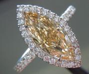 SOLD....Diamond Halo ring: 1.18ct Fancy Brownish Yellow VS2 Marquise GIA Platinum Diamond Halo Ring R3333