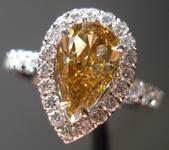SOLD.....Halo Diamond Ring: 1.18ct Fancy Deep Brown-Yellow VS2 Pear Diamond GIA Like Sweet-spiced Fruit R3373