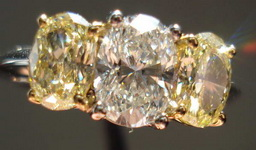 SOLD....Three Stone Diamond Ring: .93ct H Si1 Natural Intense Yellow Side Diamonds R983