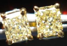 SOLD.....Diamond Earrings: .83ct Yellow Radiant Diamond Studs 18kt Yellow Gold R3399