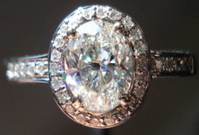 SOLD.....Halo Diamond Ring: 1.00 h/sI1 GIA Oval in Custom Made Platinum Halo R3363