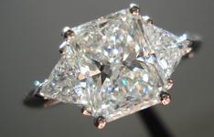 SOLD....Three Stone Diamond Ring: 2.06 H SI1 Radiant Cut Diamond GIA Great Sparkle R3415