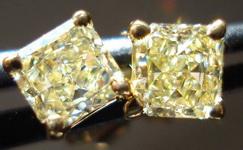 SOLD....Diamond Earrings: .66ct Lemon Yellow Natural Diamond Studs STRONG COLOR R3400