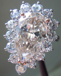 SOLD.....Diamond Halo Ring: 4.02 Pear Shape Complex Light Brown Color Platinum Halo Ring Massive Size GIA R3427