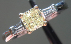 SOLD...Diamond Ring:.41ct Square Radiant natural Light Yellow Set In 14Karat 2Tone Gold R3401