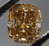 SOLD....Loose Diamond: 1.03ct Fancy Deep Brown Orange Cushion VS1 GIA Auburn Beauty R3464