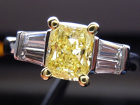 SOLD....Three Stone Diamond Ring: 1.00ct Fancy Intense Yellow Radiant I1 GIA Double Baguette R3456
