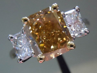 SOLD.....Three Stone Diamond Ring: 2.44ct Fancy Brown-Yellow Radiant SI1 GIA R3450