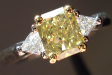 SOLD....Three Stone Diamond Ring: 1.01ct Fancy Intense Yellow Radiant SI2 GIA Trilliant Side Stones R3470
