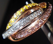 Diamond Wedding Band: Tri Color Rolling Rings 14K Tri Color Gold SO3432