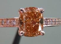 SOLD....Diamond RIng: .92 Fancy Deep Brown-Orange Cushion VS2 Diamond GIA Pink Gold Pink Diamonds  R3505